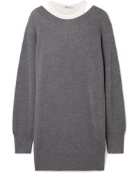 T By Alexander Wang - Off-the-shoulder Layered Ribbed Merino Wool-blend And Cotton Mini Dress - Lyst