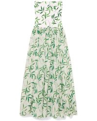 Caroline Constas - Marianna Printed Stretch-jersey And Voile Maxi Dress - Lyst