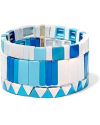 Roxanne Assoulin Mykonos Set Of Three Enamel Bracelets - Blue