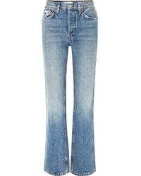 RE/DONE - Originals Distressed High-rise Straight-leg Jeans - Lyst