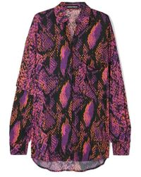 House of Holland - Oversized-hemd Aus Crêpe De Chine Mit Schlangenprint - Lyst