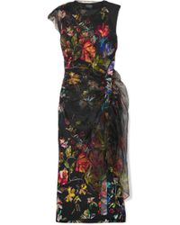 Mugler - Layered Floral-print Satin And Organza Midi Dress - Lyst