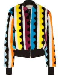 Mary Katrantzou - Bullseye Printed Faux Fur Bomber Jacket - Lyst