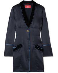 F.R.S For Restless Sleepers - Techne Velvet-trimmed Satin Mini Dress - Lyst