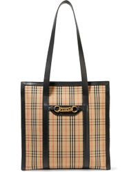Burberry - Embellished Leather-trimmed Checked Cotton-drill Tote - Lyst