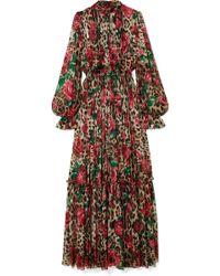 Dolce & Gabbana - Pleated Printed Silk-chiffon Gown - Lyst