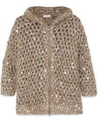 Brunello Cucinelli | Hooded Sequined Open-knit Cardigan | Lyst