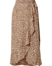 Faithfull The Brand - Celeste Ruffled Leopard-print Crepe Wrap Skirt - Lyst