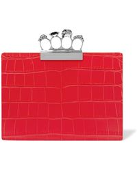 Alexander McQueen - Skull Four Ring Flat Red Pouch - Lyst
