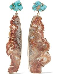 Melissa Joy Manning - 14-karat Gold, Turquoise And Agate Earrings - Lyst