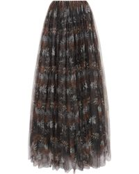Brunello Cucinelli - Pleated Printed Tulle Maxi Skirt - Lyst