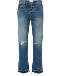 The Throwback Original Distressed High-rise Straight-leg Jeans - Mid denim Current Elliott G9toD