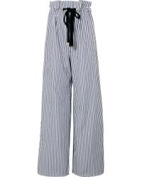 Mother Of Pearl - Striped Organic Cotton-poplin Wide-leg Trousers - Lyst