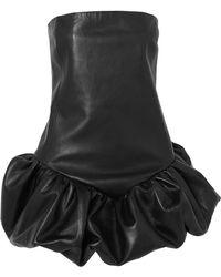 Saint Laurent - Strapless Leather Mini Dress - Lyst