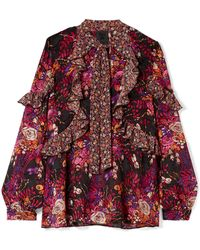 Anna Sui - Butterflies And Bells Ruffled Printed Silk-jacquard Blouse - Lyst