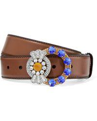 Miu Miu - Crystal-embellished Leather Belt - Lyst