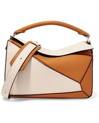 Loewe - Puzzle Two-tone Textured-leather Shoulder Bag - Lyst
