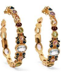 Percossi Papi - Gold-plated And Enamel Multi-stone Hoop Earrings - Lyst