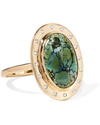 Melissa Joy Manning - 14-karat Gold, Turquoise And Diamond Ring - Lyst