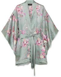 Meng Exclusive Floral-print Silk-satin Kimono