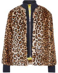Ganni - Ferris Leopard Print Faux Fur Bomber Jacket - Lyst