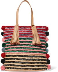 Loeffler Randall | Cruise Pompom-embellished Leather-trimmed Straw Tote | Lyst