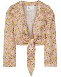 Lisa Marie Fernandez - Cropped Floral-print Linen Top - Lyst