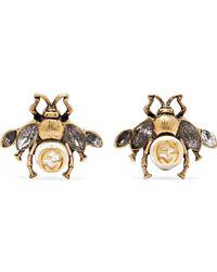 Gucci - Gold Bee Motif Earrings - Lyst