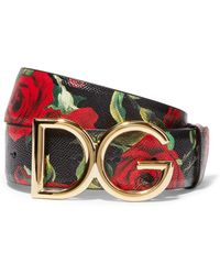 Dolce & Gabbana - Floral-print Textured-leather And Gold-plated Belt - Lyst