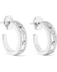 Messika - Move Pavé 18-karat White Gold Diamond Hoop Earrings - Lyst