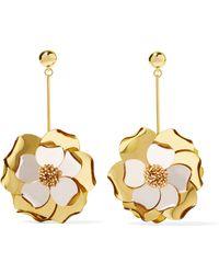 Oscar de la Renta - Petunia Gold-tone, Bead And Acetate Earrings - Lyst