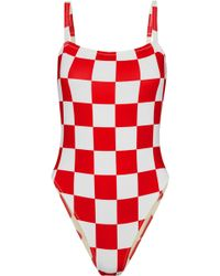 Solid & Striped - + Re/done The Malibu Checked Swimsuit - Lyst