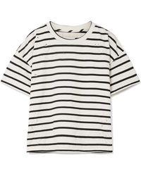 Current/Elliott - The Roadie Distressed Striped Cotton-blend T-shirt - Lyst
