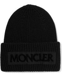Moncler - Flocked Grosgrain-trimmed Ribbed Wool Beanie - Lyst