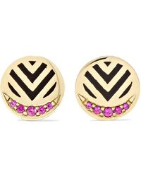 Alice Cicolini - Memphis Chevron 14-karat Gold, Ruby And Enamel Earrings - Lyst