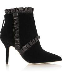 Christopher Kane | Leather-trimmed Velvet Ankle Boots | Lyst
