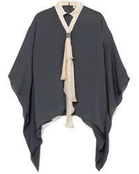 Brunello Cucinelli - Pussy-bow Embellished Silk-chiffon Blouse - Lyst
