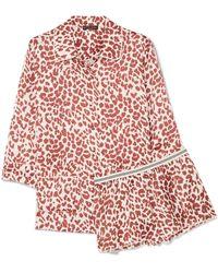 Love Stories - Joe And Edie S Leopard-print Satin Pyjama Set - Lyst
