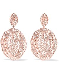 Aurelie Bidermann - Lace Rose Gold-plated Earrings - Lyst