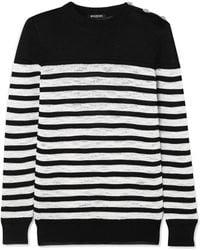 Balmain - Button-embellished Striped Open-knit Sweater - Lyst