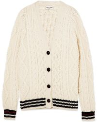 Saint Laurent - Striped Cable-knit Wool Cardigan - Lyst
