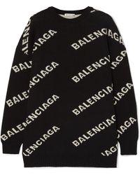Balenciaga - Intarsia Knitted Sweater - Lyst
