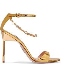 Miu Miu - Embellished Mirrored-leather Sandals - Lyst