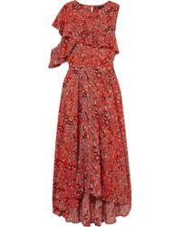 Maje - Ruffled Leopard-print Crepe Midi Dress - Lyst