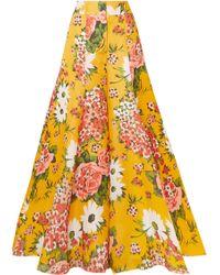Carolina Herrera - Hose Mit Weitem Bein Aus Seidenorganza Mit Blumenprint - Lyst