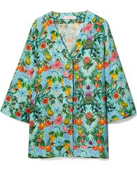 Matthew Williamson - Mediterranean Medley Blue Oversized Silk Shirt - Lyst