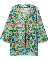 Matthew Williamson | Mediterranean Medley Blue Oversized Silk Shirt | Lyst