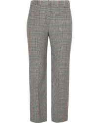 Alexander McQueen - Cropped Prince Of Wales Wool-blend Straight-leg Pants - Lyst