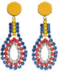 Marni - Gold-tone, Crystal And Leather Clip Earrings - Lyst