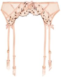L'Agent by Agent Provocateur - Kaity Floral-appliquéd Stretch-tulle Suspender Belt - Lyst